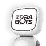 James Robot with ZoraBots logo on screen